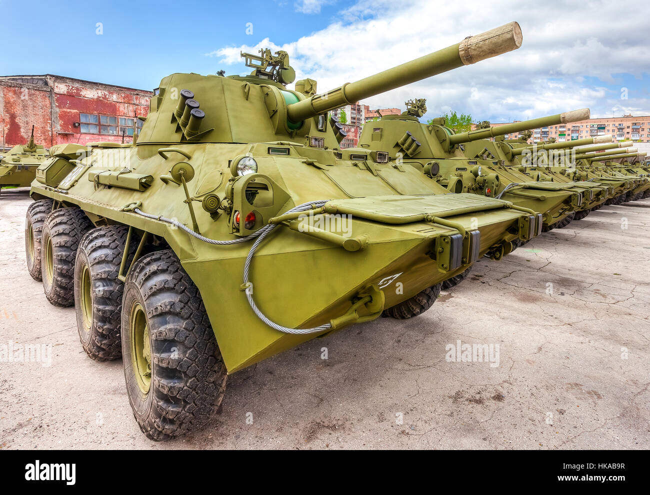 Nona-SVK 120mm self-propelled mortar carrier on wheeled chassis of the BTR-80 - Stock Image