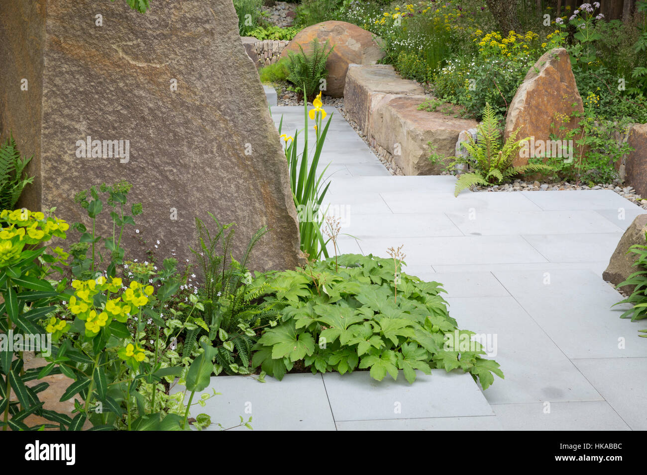 The M&G Garden, designed by Cleve West, Chelsea Flower Show, London 2016, UK - Stock Image