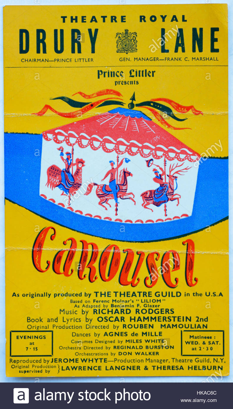 Flyer for a performance of Carousel at the Theatre Royal, Drury Lane London circa 1951 - Stock Image