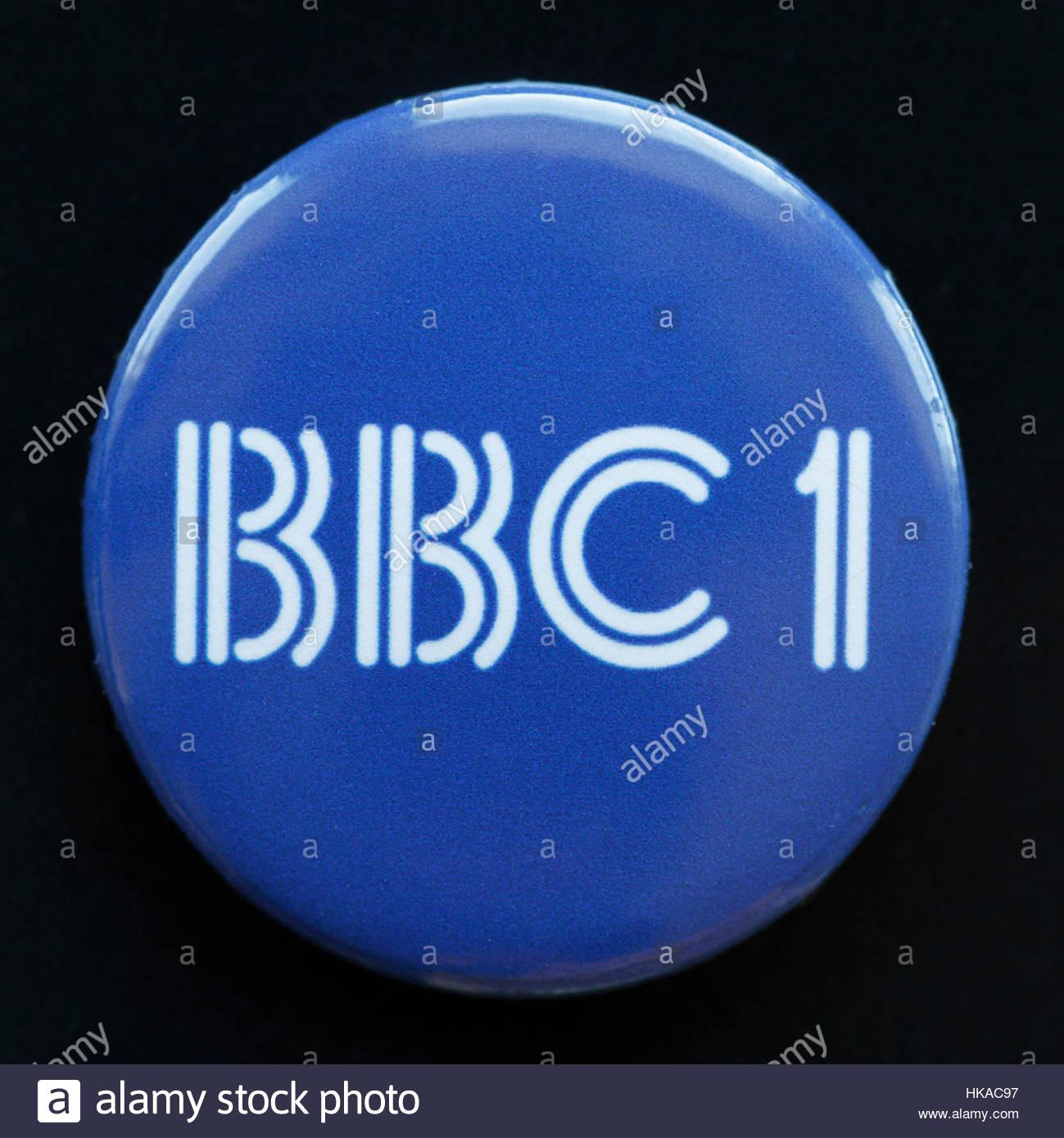 BBC1 Television Logo on a pin badge - Stock Image