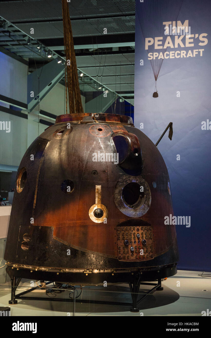 London, UK. 26 January 2017. The Science Museum unveils the Soyuz TMA-19M descent module, the spacecraft which carried - Stock Image