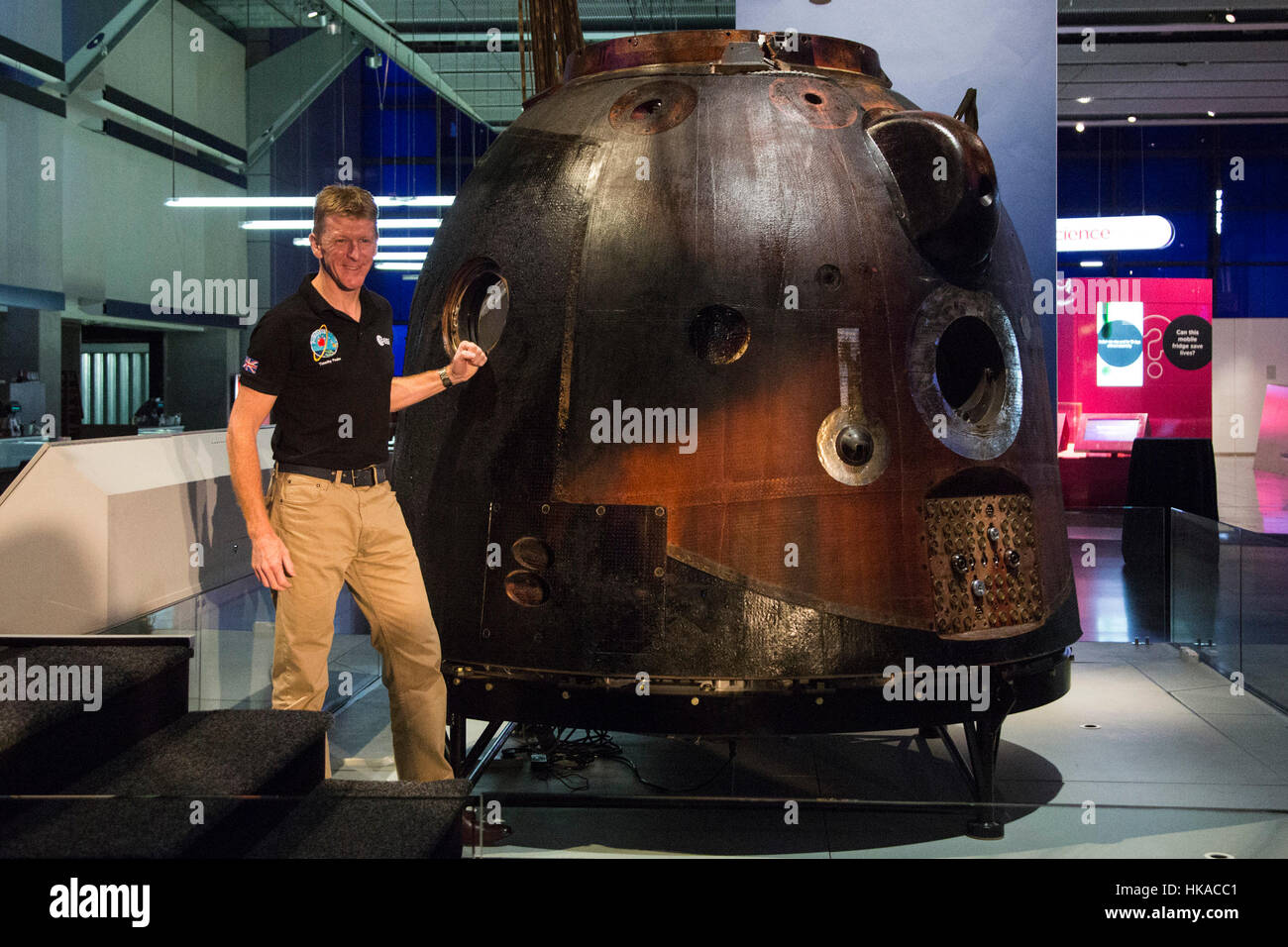 London, UK. 26 January 2017. British astronaut Tim Peake poses with the spacecraft. The Science Museum unveils the - Stock Image