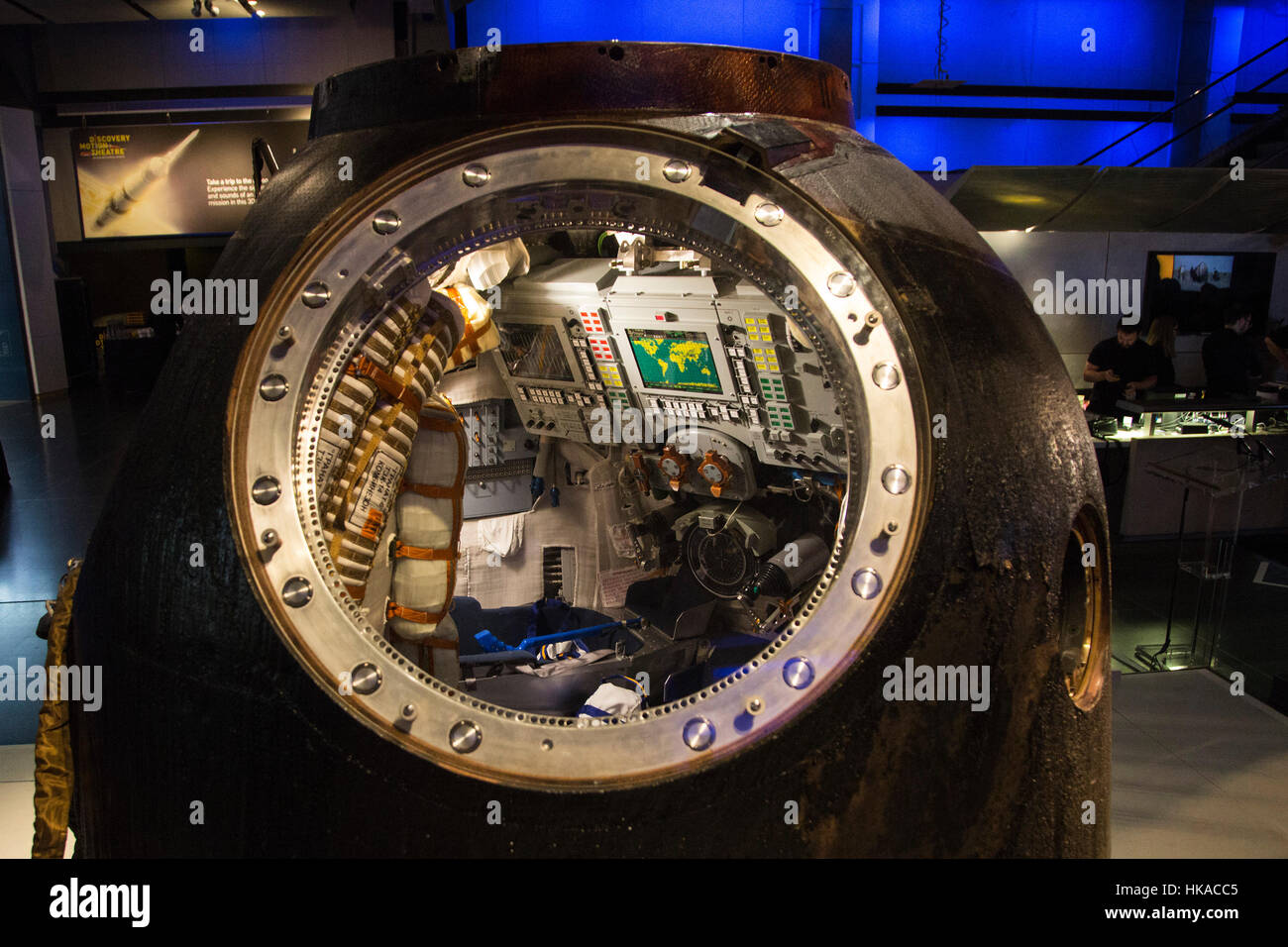 London, UK. 26 January 2017. View inside the spacecraft. The Science Museum unveils the Soyuz TMA-19M descent module, Stock Photo