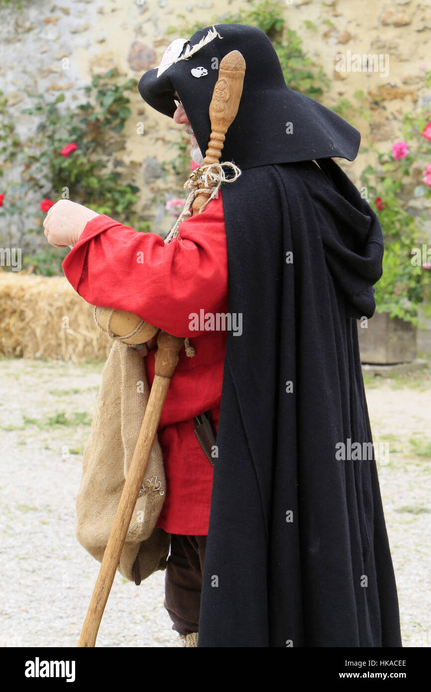 Man in period costume of the Order of the Knights Templar. - Stock Image