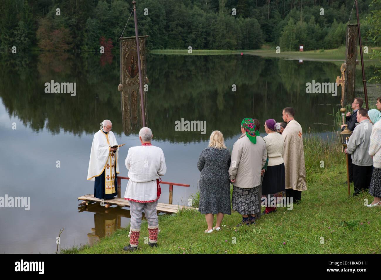 Ceremony before Transfiguration Day of Seto people, Obinitsa, Estonia - Stock Image