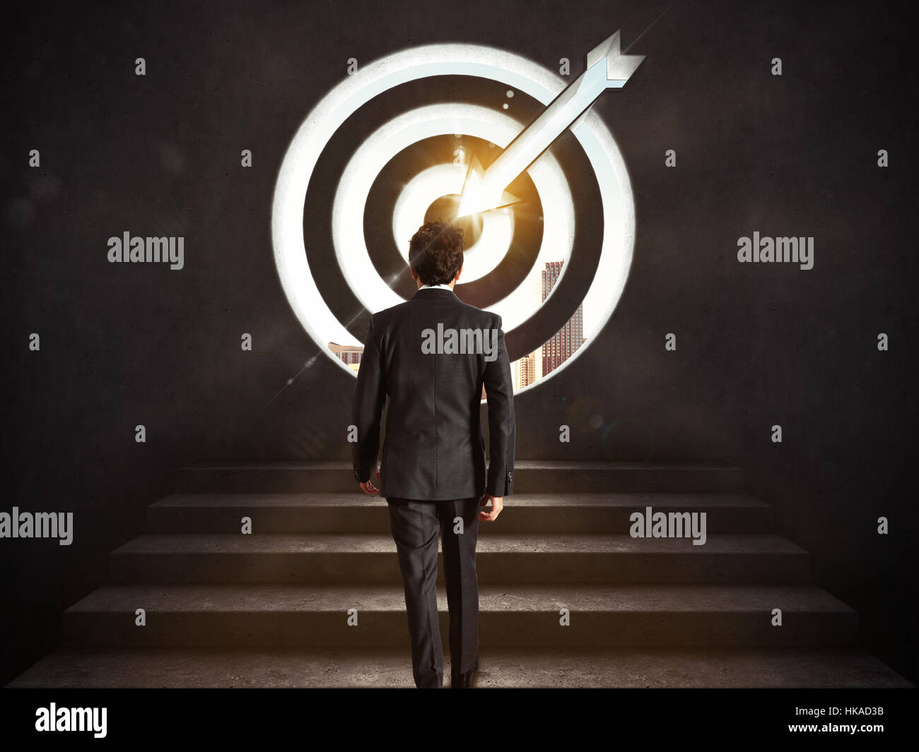 Arrive at a goal of success. Businessman climbing the stairs up to a target.. 3D Rendering - Stock Image
