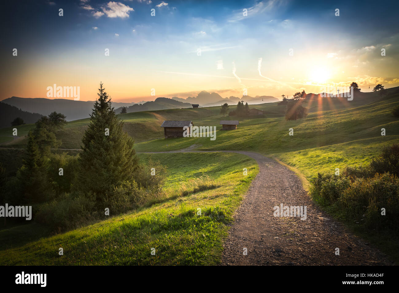Seiser Alm in morning light, Dolomites, Italy Stock Photo