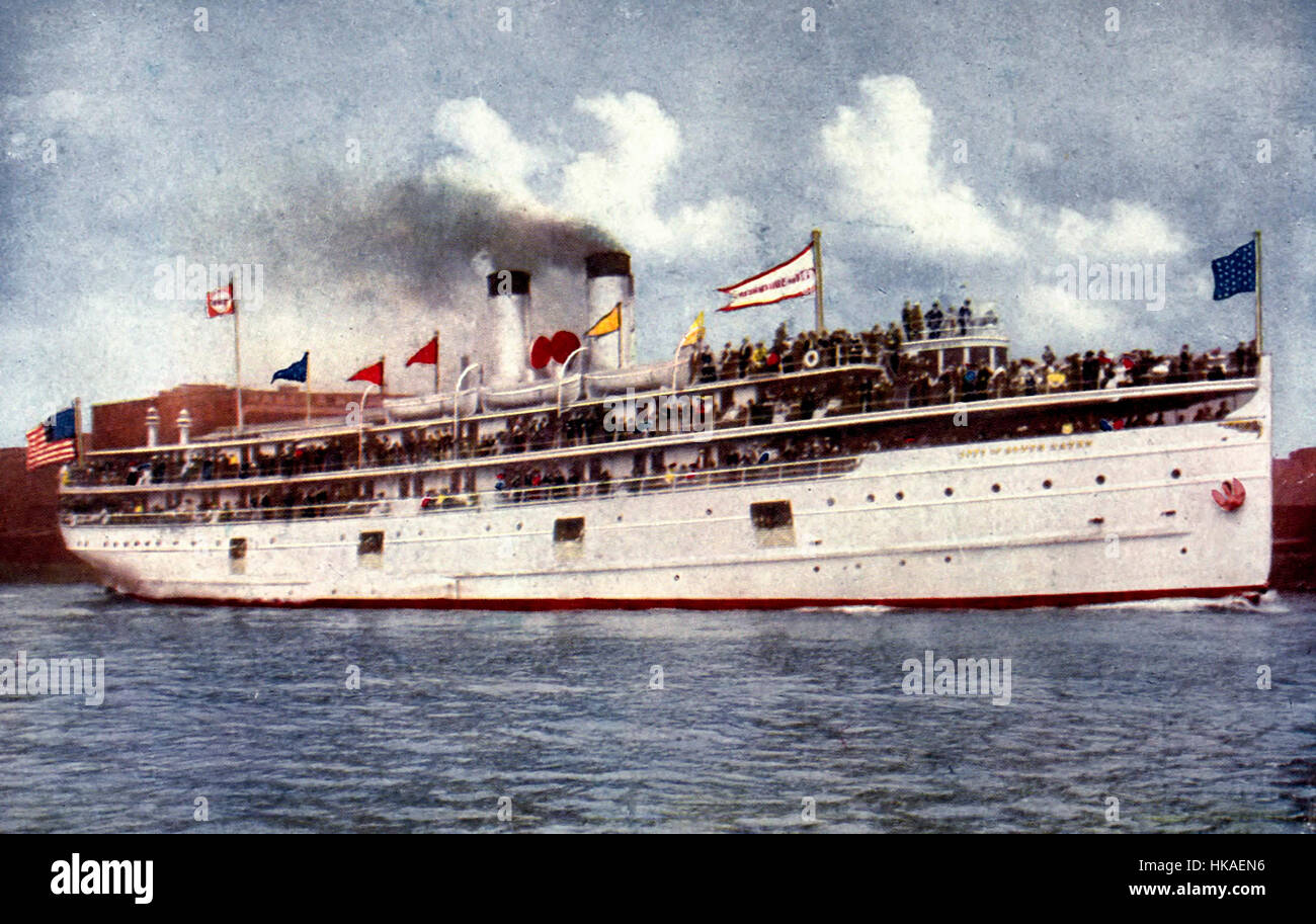 Steamship City of South Haven, Chicago, circa 1908 - Stock Image