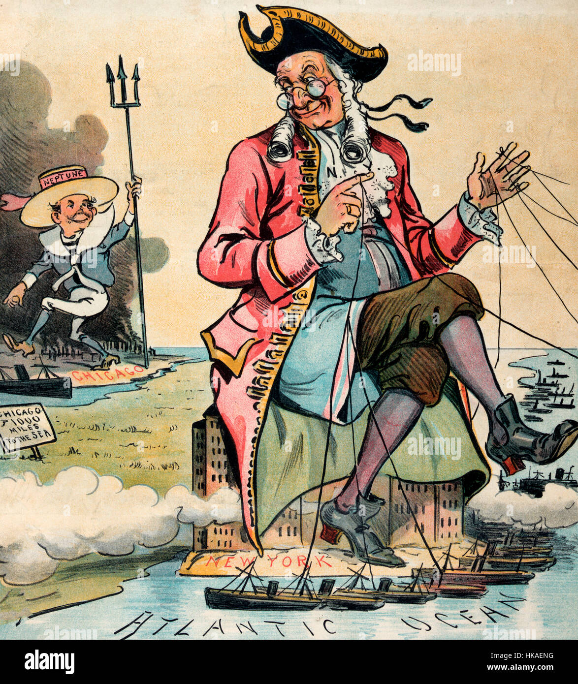 The Chicago Neptune - Political Cartoon shows a large elderly colonial man labeled 'N.Y.' sitting atop buildings - Stock Image