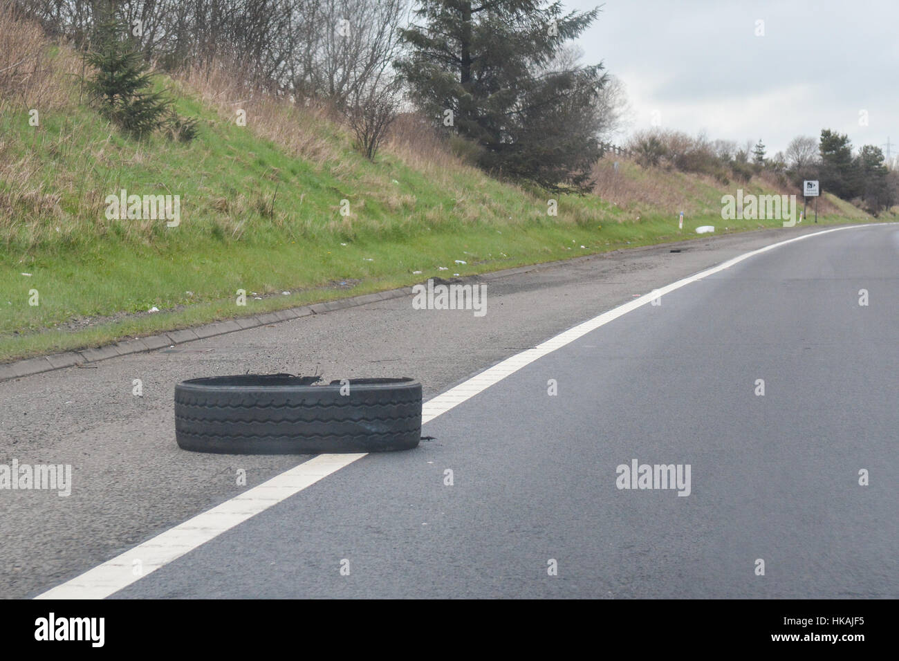 lorry tyre on motorway - UK - Stock Image