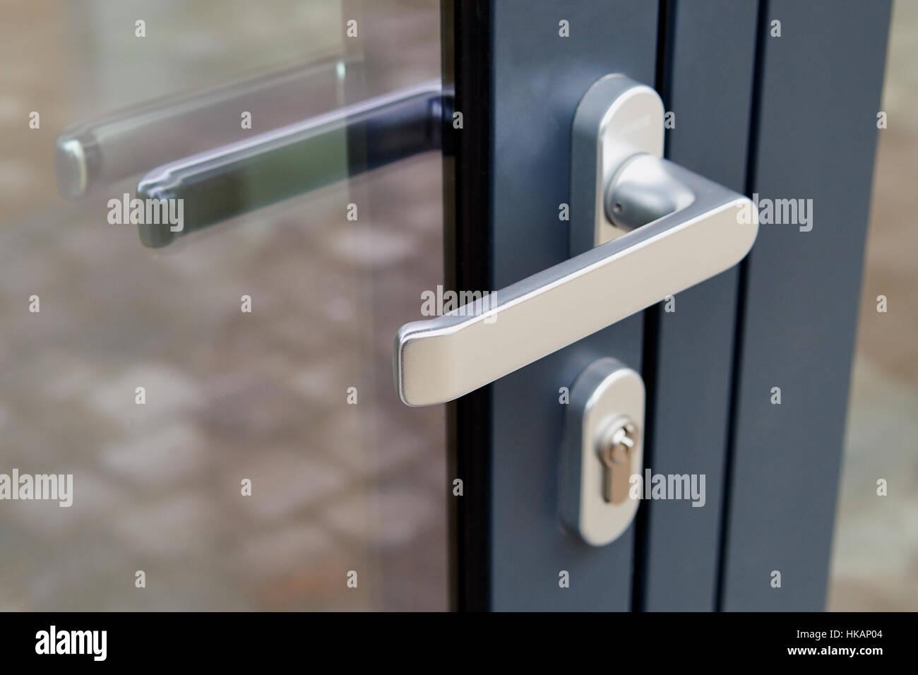 Exterior Door Handle And Security Lock On Metal Frame Low Deep Of