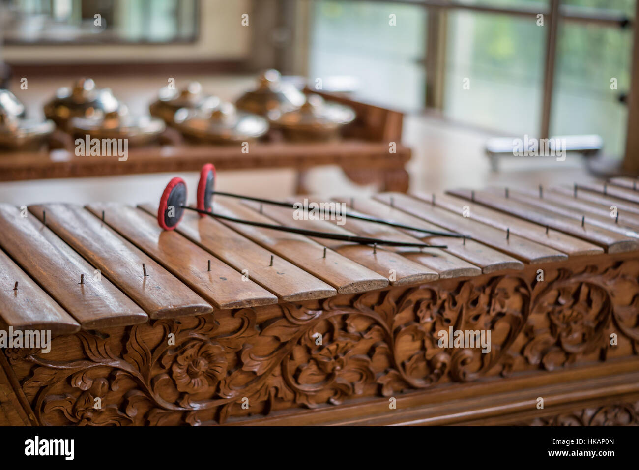 Saron, a gamelan music instrument, a traditional music in Bali and Jawa. Stock Photo