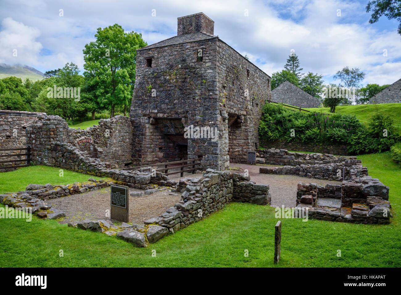 Bunaw remains of ancient iron ore blast furnace, Argyll & Bute, Scotland - Stock Image