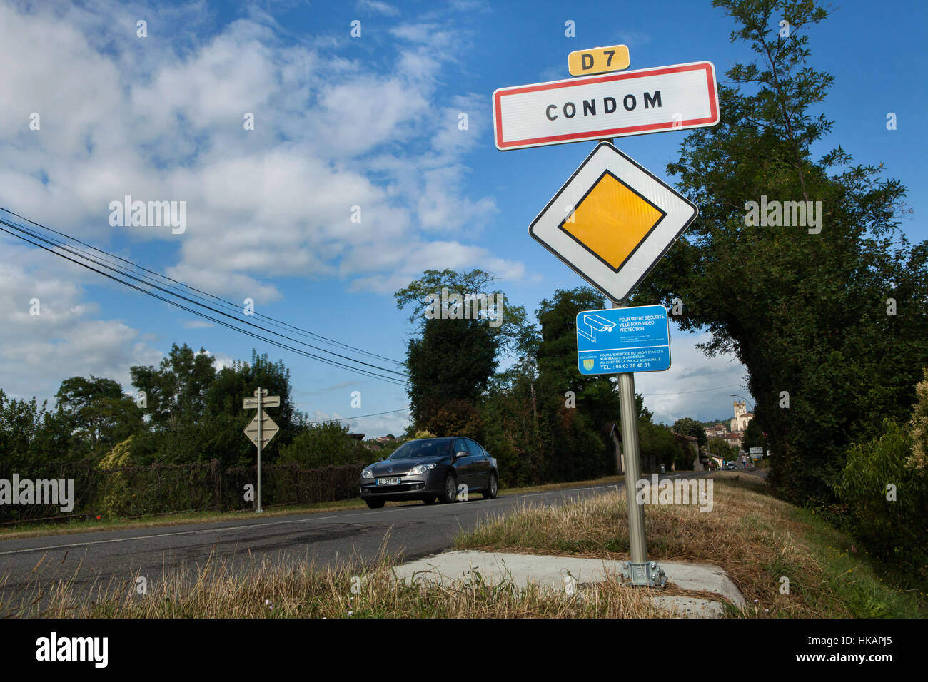 Traffic sign at the entrance to the town of Condom in Gers, France. - Stock Image