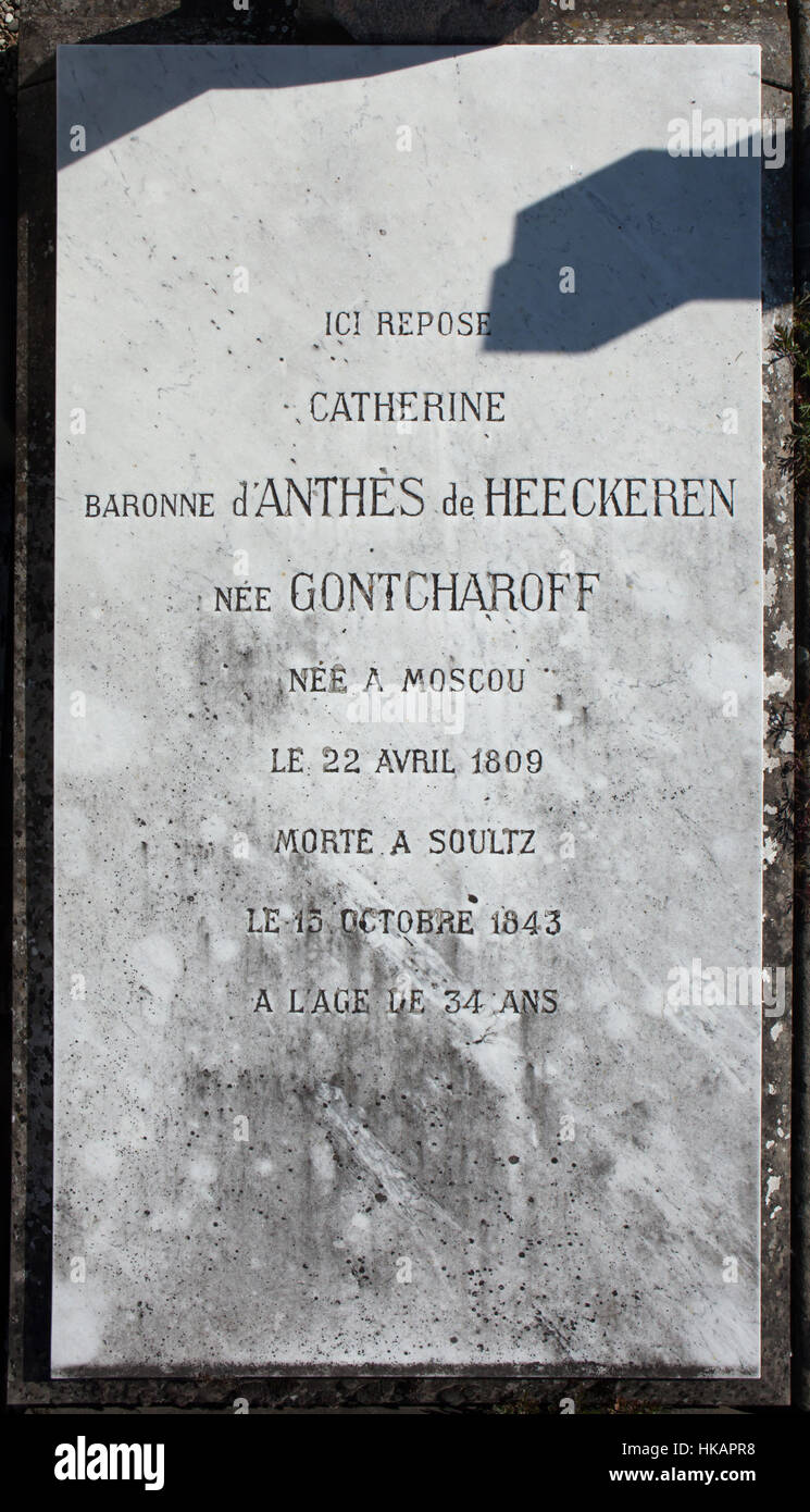 Grave of Baroness Catherine de Heeckeren d'Anthes, nee Gontcharoff (1809–1843) at the cemetery in Soultz-Haut - Stock Image