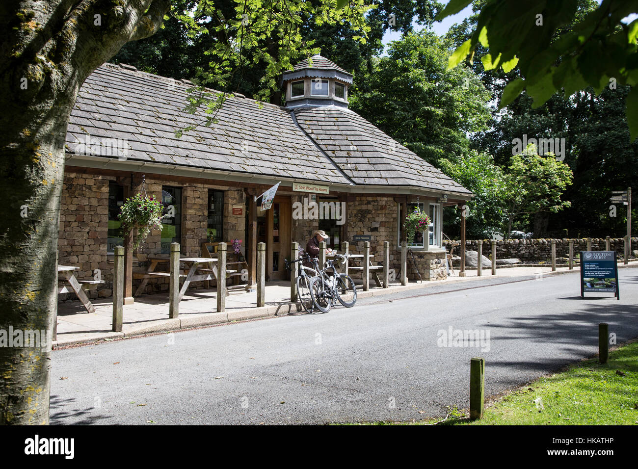 Entrance & cafe at The Strid car park, Bolton Abbey - Stock Image