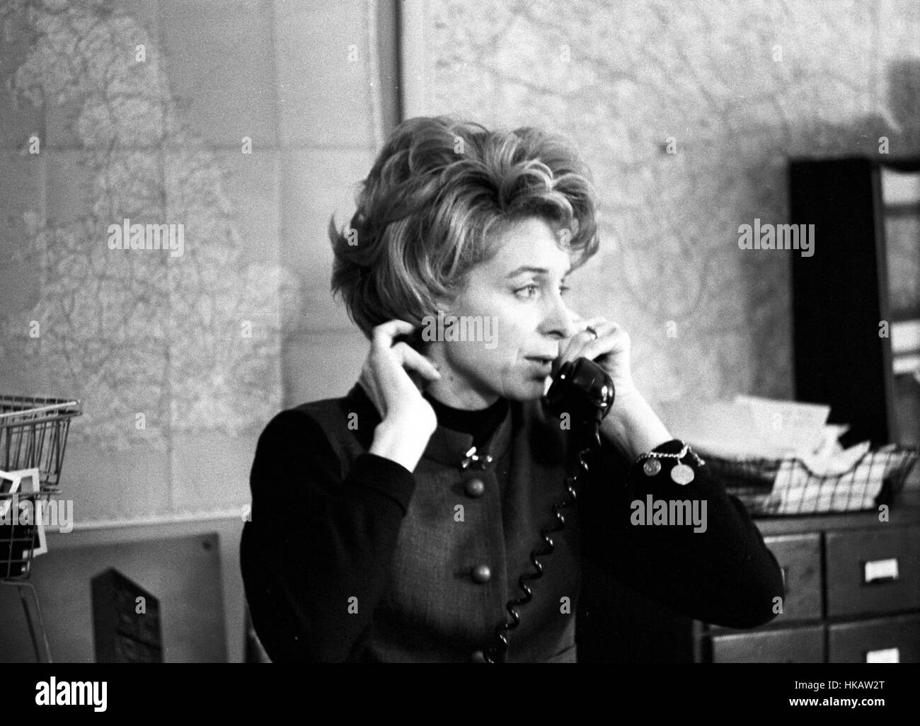 Caroline Benn (Caroline Middleton DeCamp), wife of Tony Benn, shown here working in Tony's office in 1963. - Stock Image
