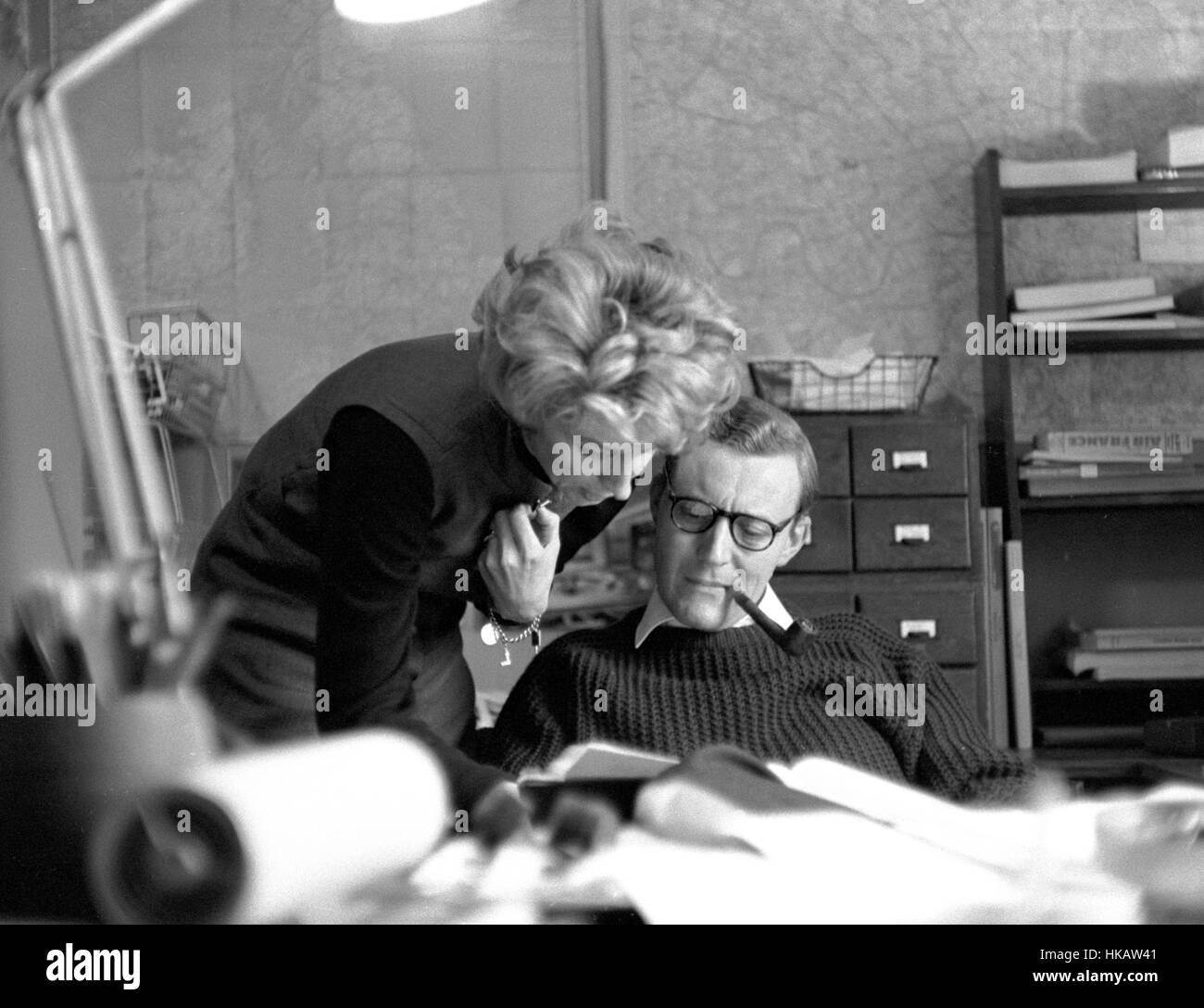 Tony and Caroline Benn, working in Tony's office during his tenure as Postmaster General of the United Kingdom. - Stock Image