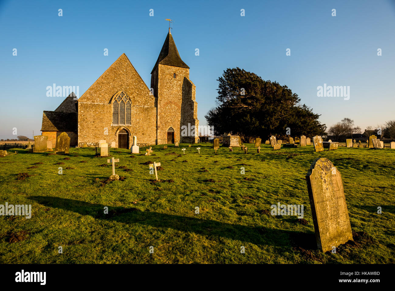 St Clement church in Old Romney, Kent, dating back to the twelfth century Stock Photo
