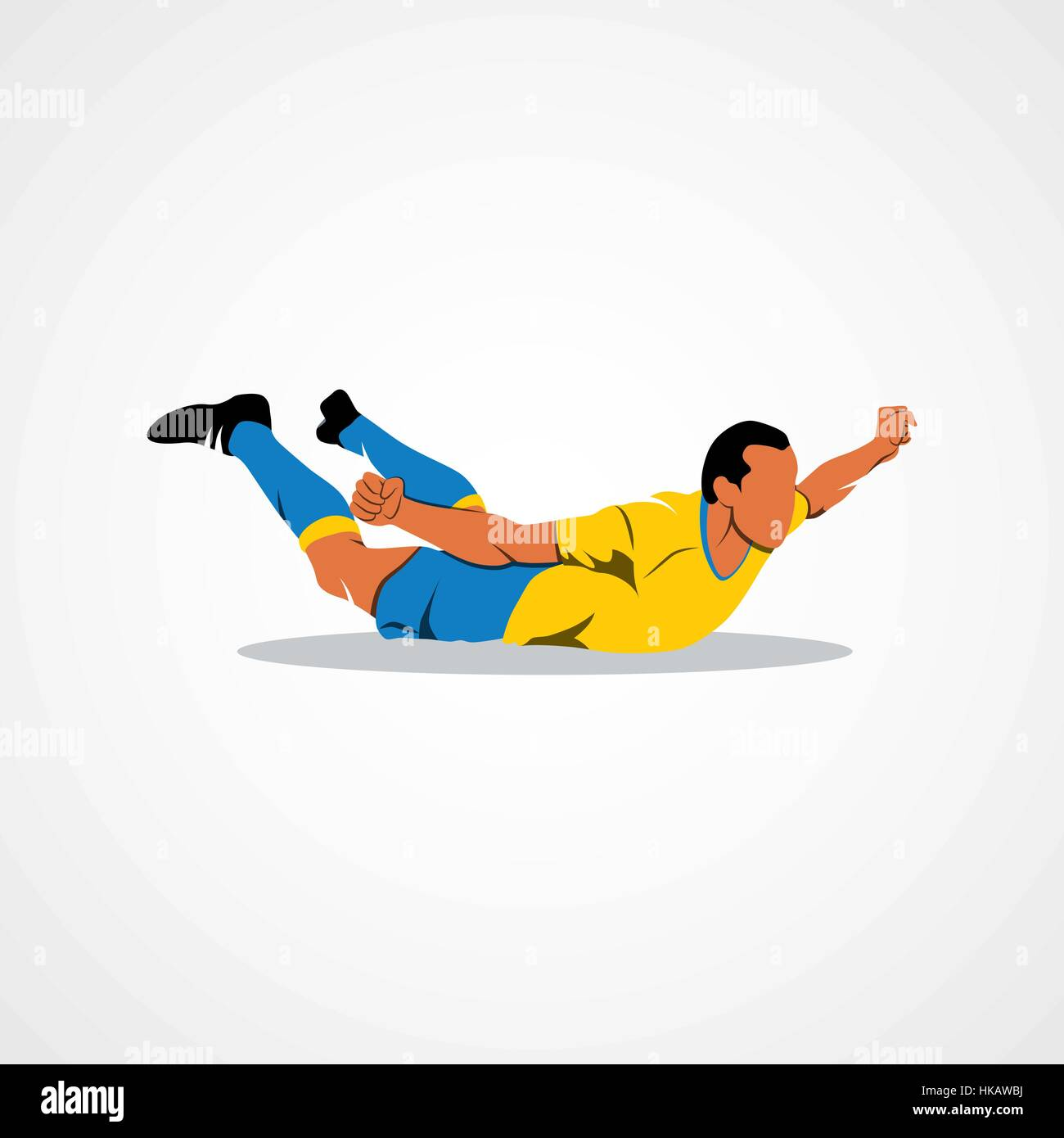 Soccer player happy after victory goalkeeper on a white background. Vector illustration. - Stock Vector