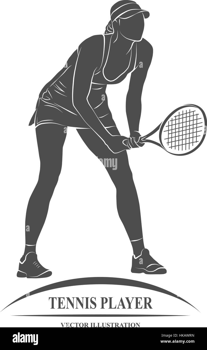 Icon tennis player with a racket. Vector illustration. - Stock Image
