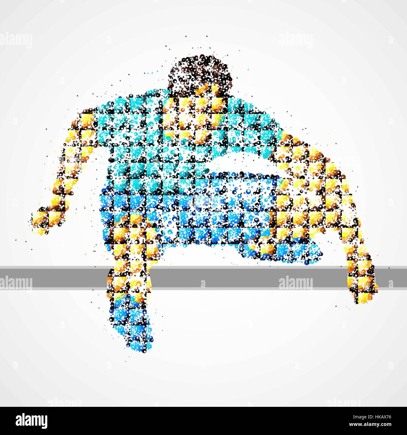 Abstract athlete jumping over the barrier. Vector illustration. Stock Vector