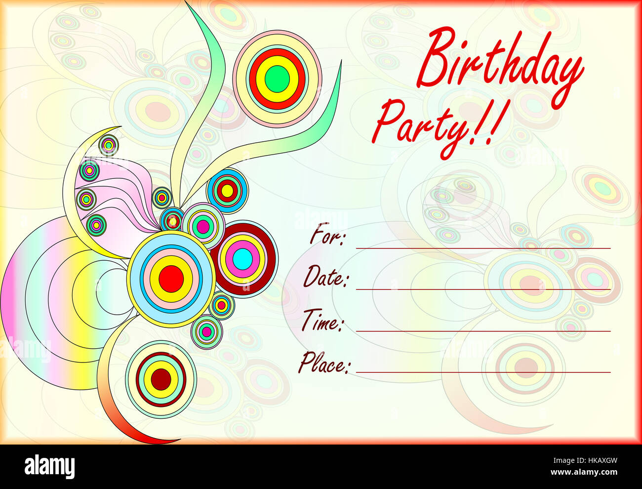 Colorful Birthday Party Invitation For Kids With Empty Lines Text