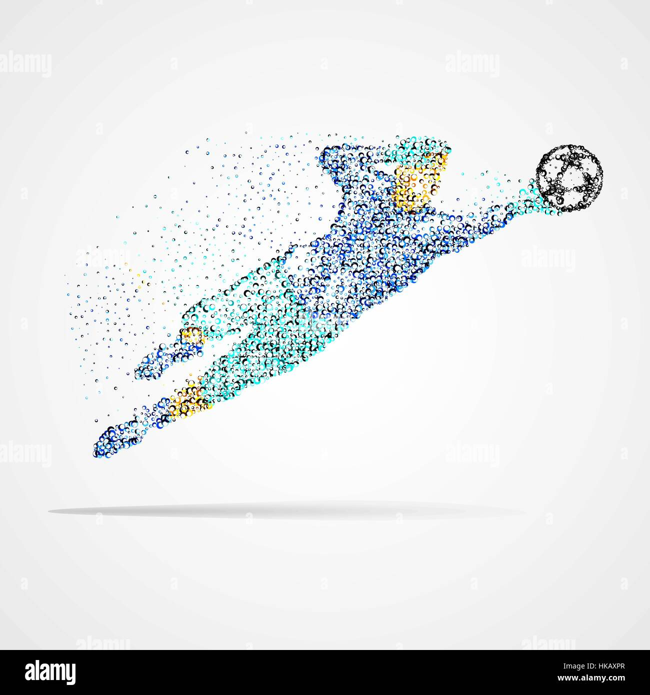 Football player with the ball circles. Vector illustration. - Stock Vector