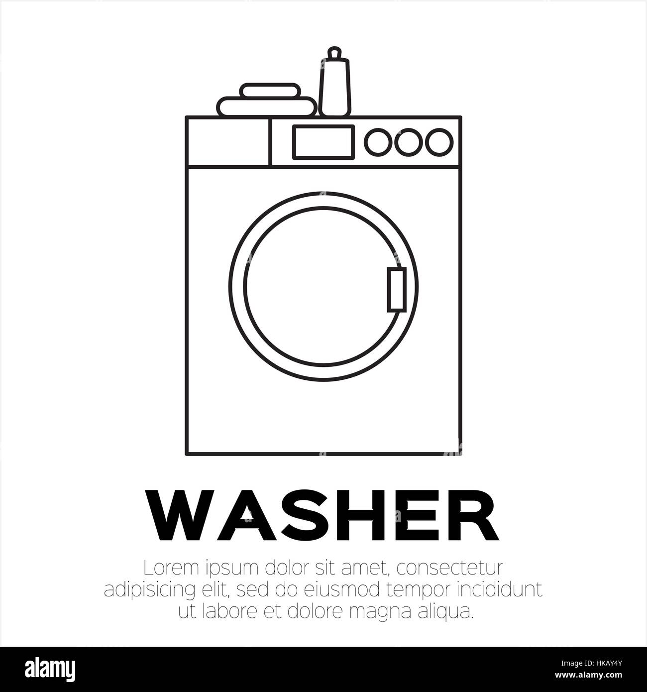 Big wash. Washing machine with towel and bottle. Front view, close-up. Laundry object.Style vector illustration. Stock Vector