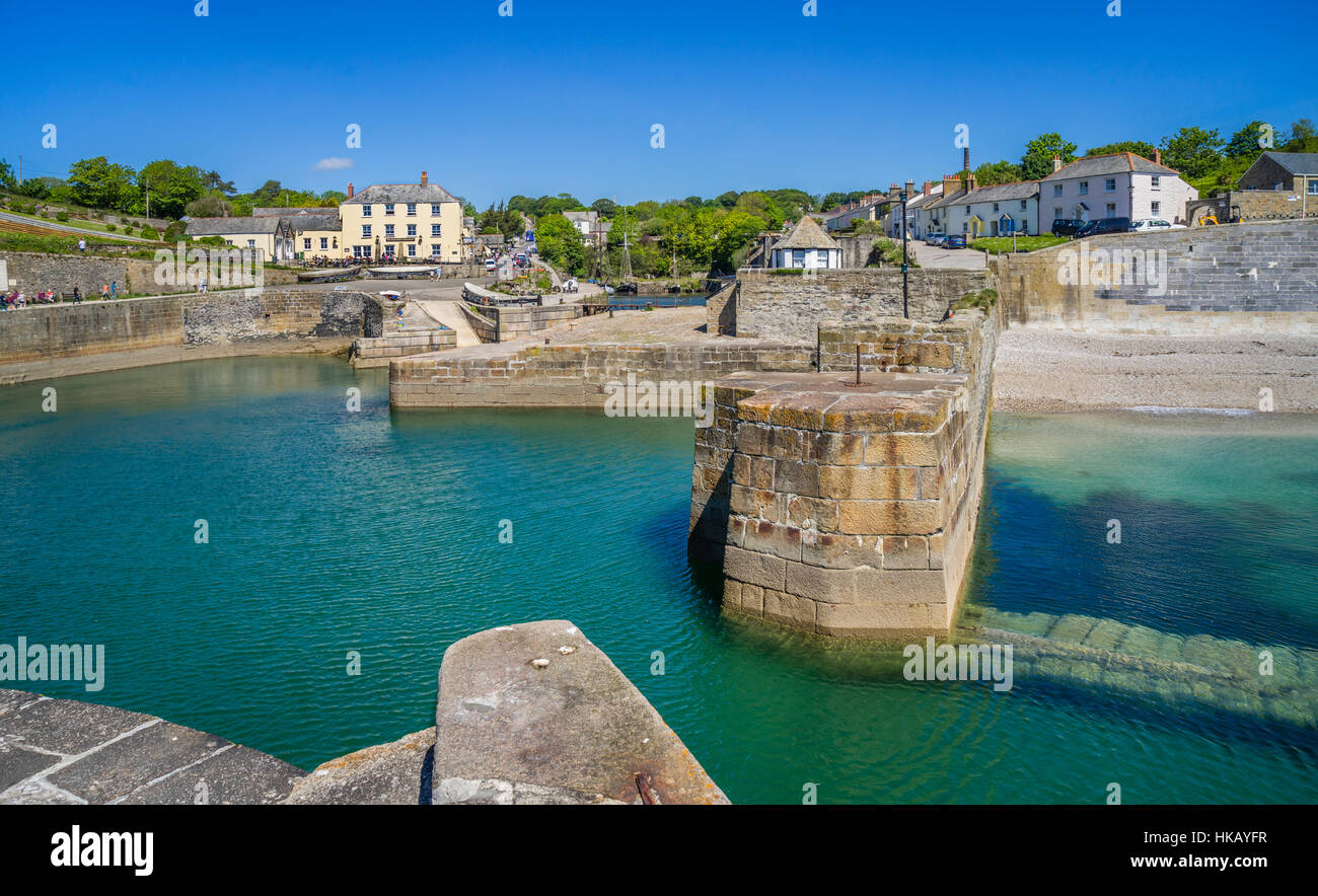 Great Britain, South West England, Cornwall, harbour entrance and outer harbour of Charlestown - Stock Image