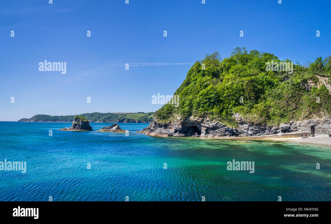 Great Britain, South West England, Cornwall, St. Austell Bay, Cornish coast and headland at Charlestown beach - Stock Image