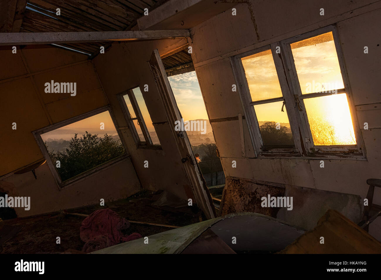 Derelict summerhouse in Yorkshire, UK - Stock Image
