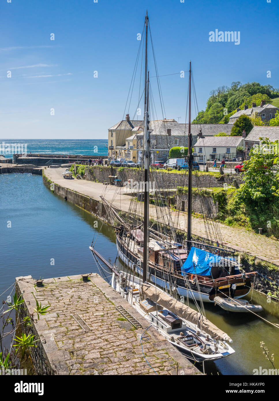 Great Britain, South West England, Cornwall, inner harbour of Charlestown - Stock Image