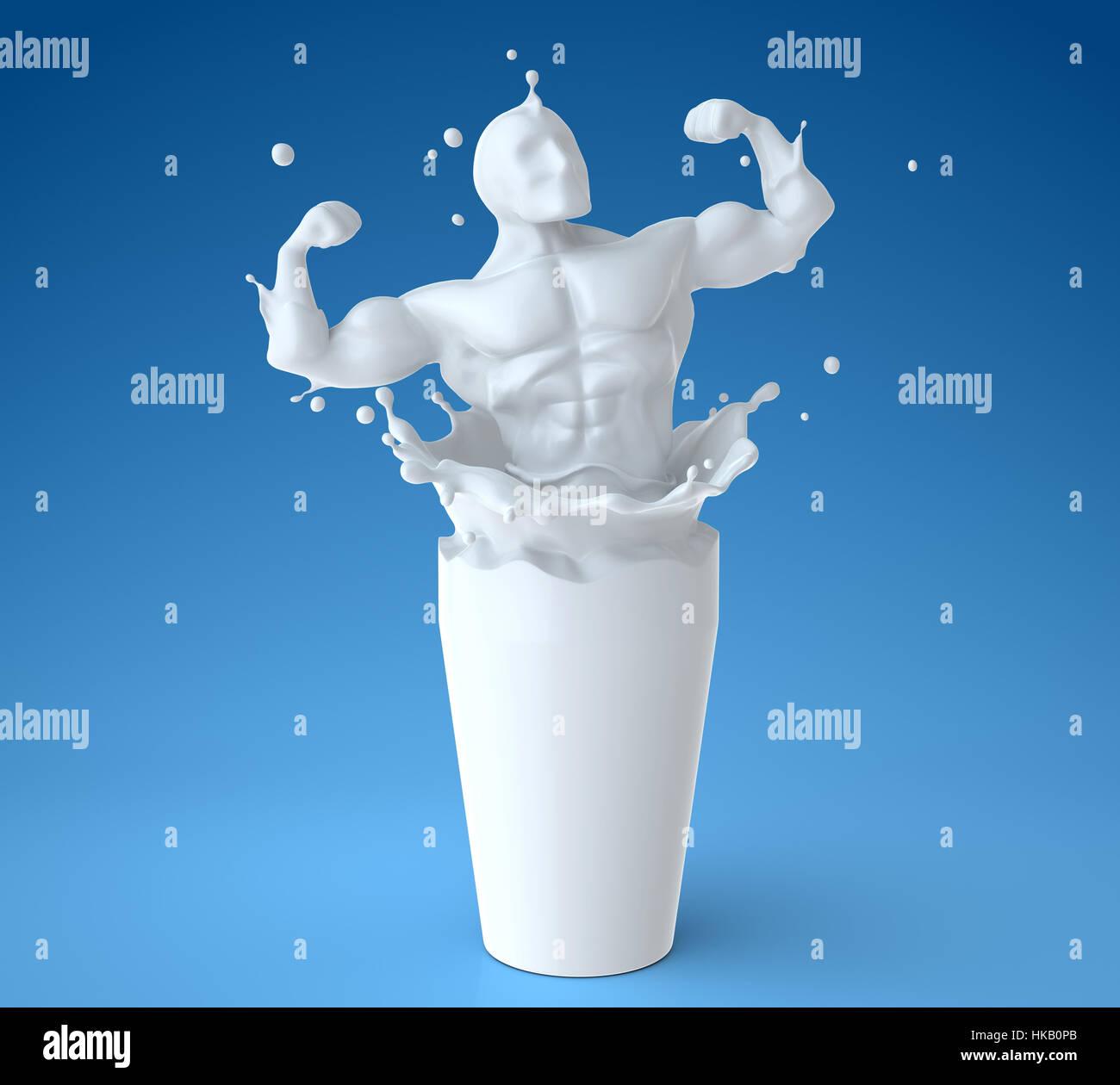 Splash of milk in form of athlete body. 3D illustration - Stock Image