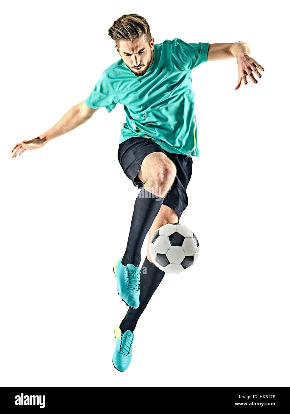one caucasian soccer player man isolated on white background - Stock Image