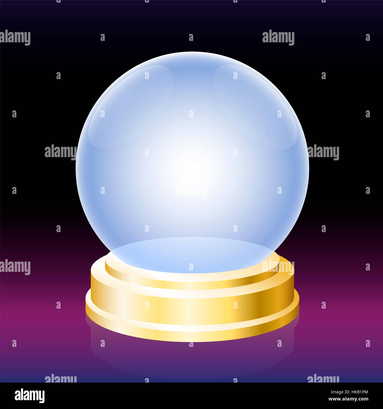 Oracle crystal ball - empty glass globe for fortune telling. - Stock Image