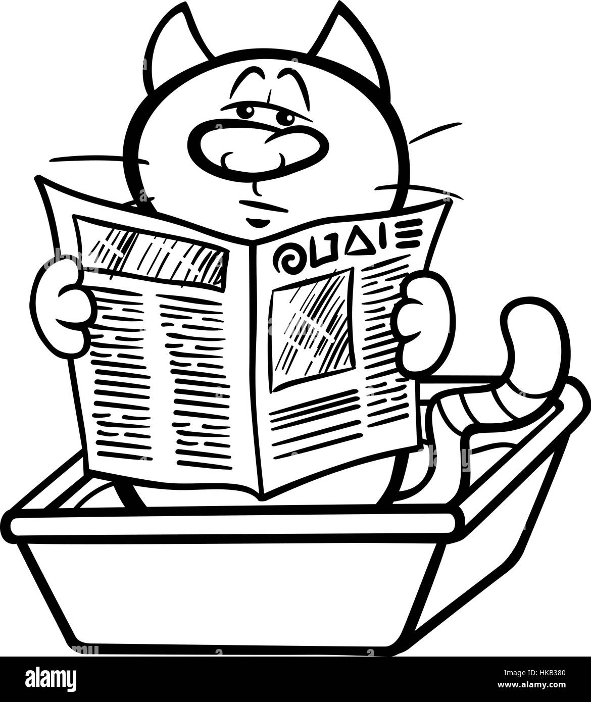 black and white cartoon illustration of cat reading a newspaper in