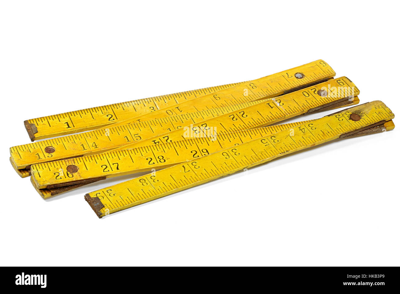 vintage 1 meter yardstick (inch unit) isolated on white background - Stock Image