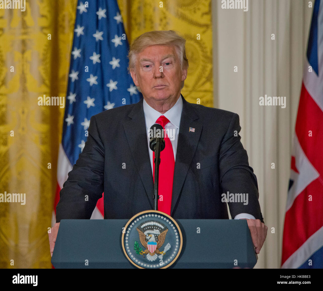 Washington DC, USA. 27th January 2017.  President Donald J. Trump, welcomes  Prime Minister  of the United Kingdom, - Stock Image