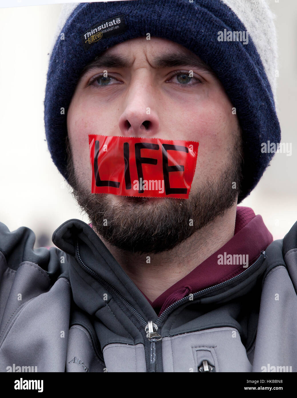 Washington, DC, USA. 27th January, 2017.Thousands of pro-life activists march from the National Mall to the Supreme - Stock Image