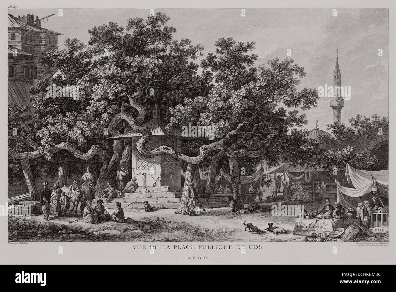 Vue de la place publique de Cos   Choiseul gouffier Gabriel Florent Auguste De   1782 - Stock Image