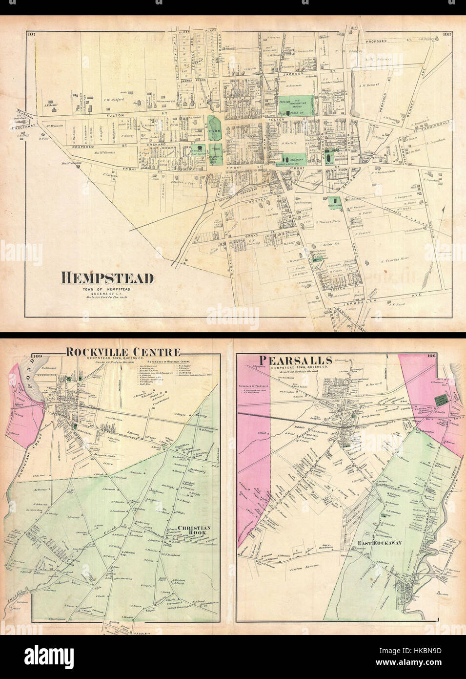 Map Of New York Towns.1873 Beers Map Of The Towns Of Hempstead Rockville And Pearsalls