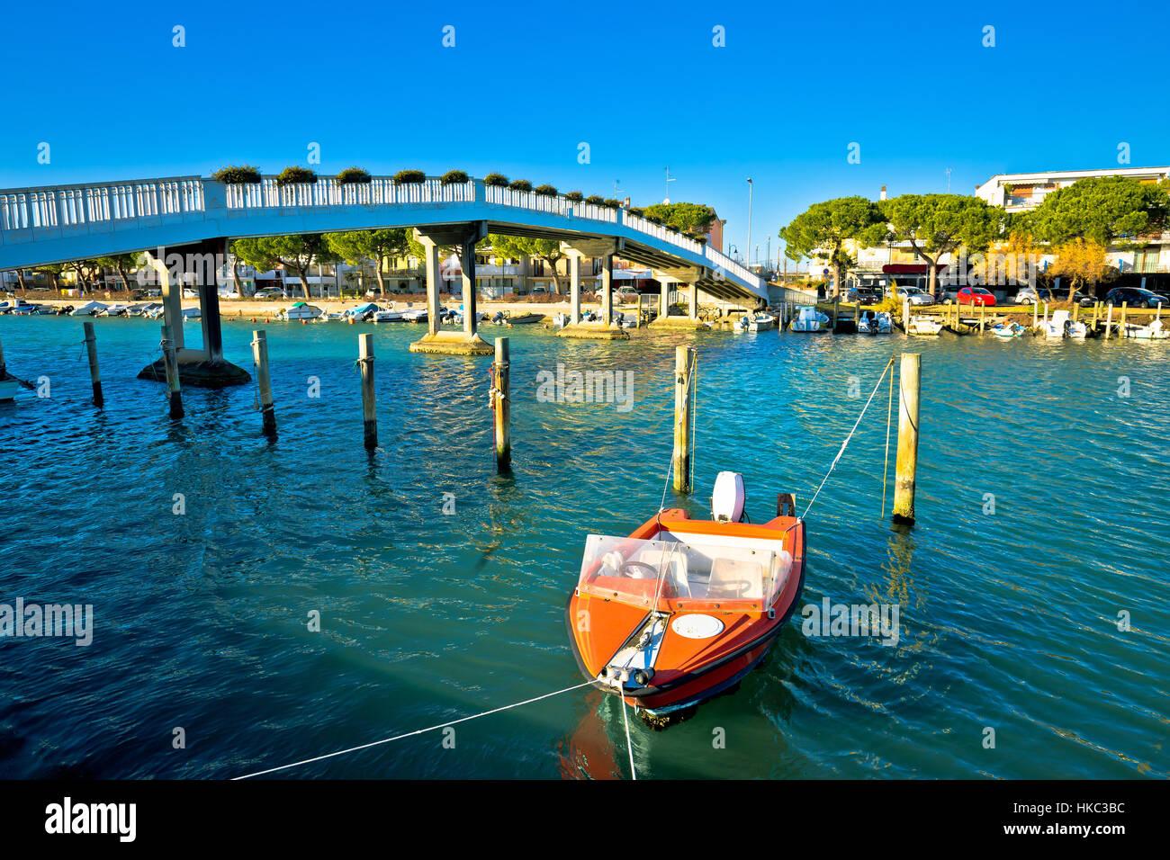 Town of Grado channel and bridge view, Friuli-Venezia Giulia region of Italy - Stock Image