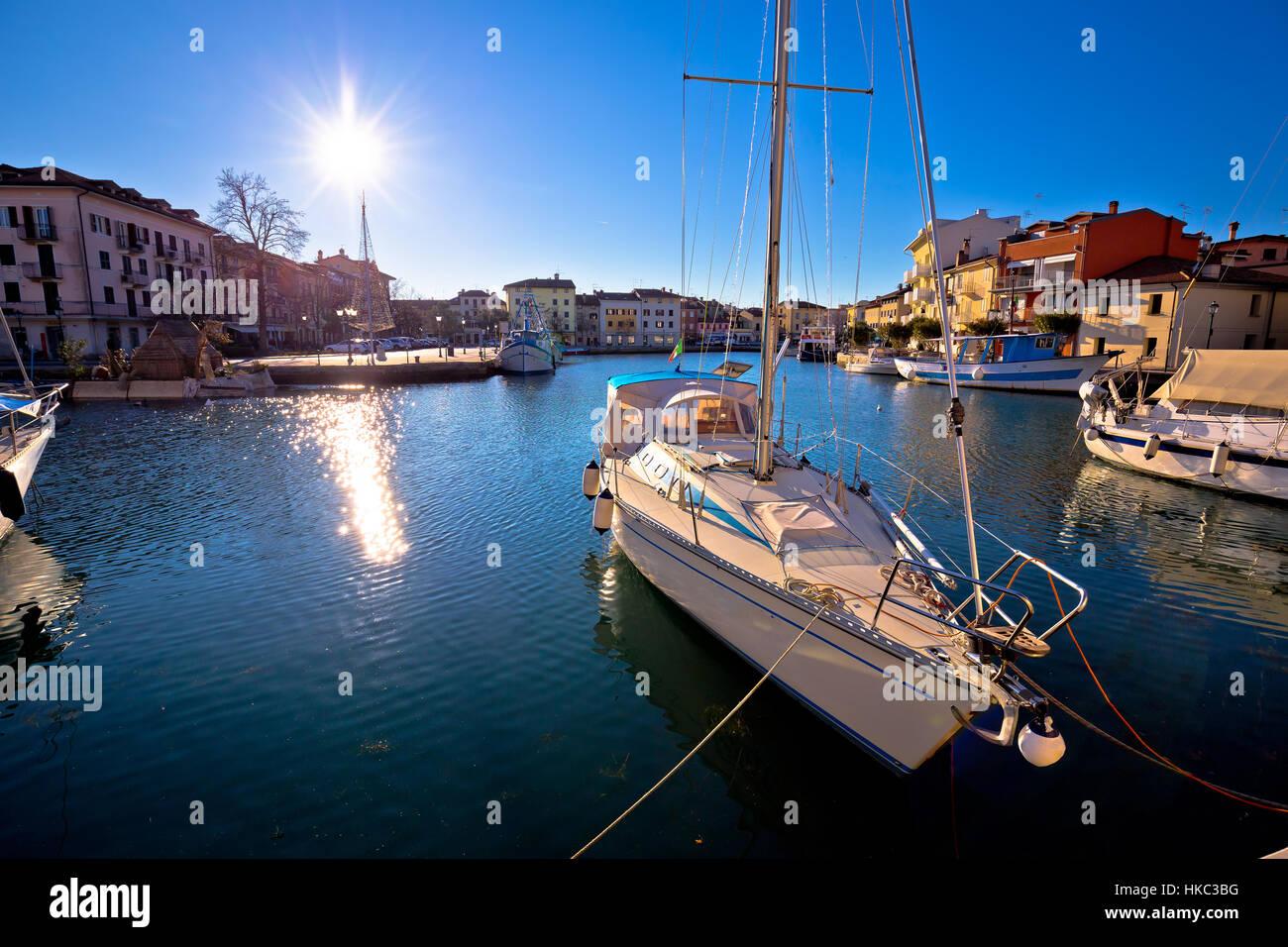 Town of Grado waterfront view, Friuli-Venezia Giulia region of Italy - Stock Image