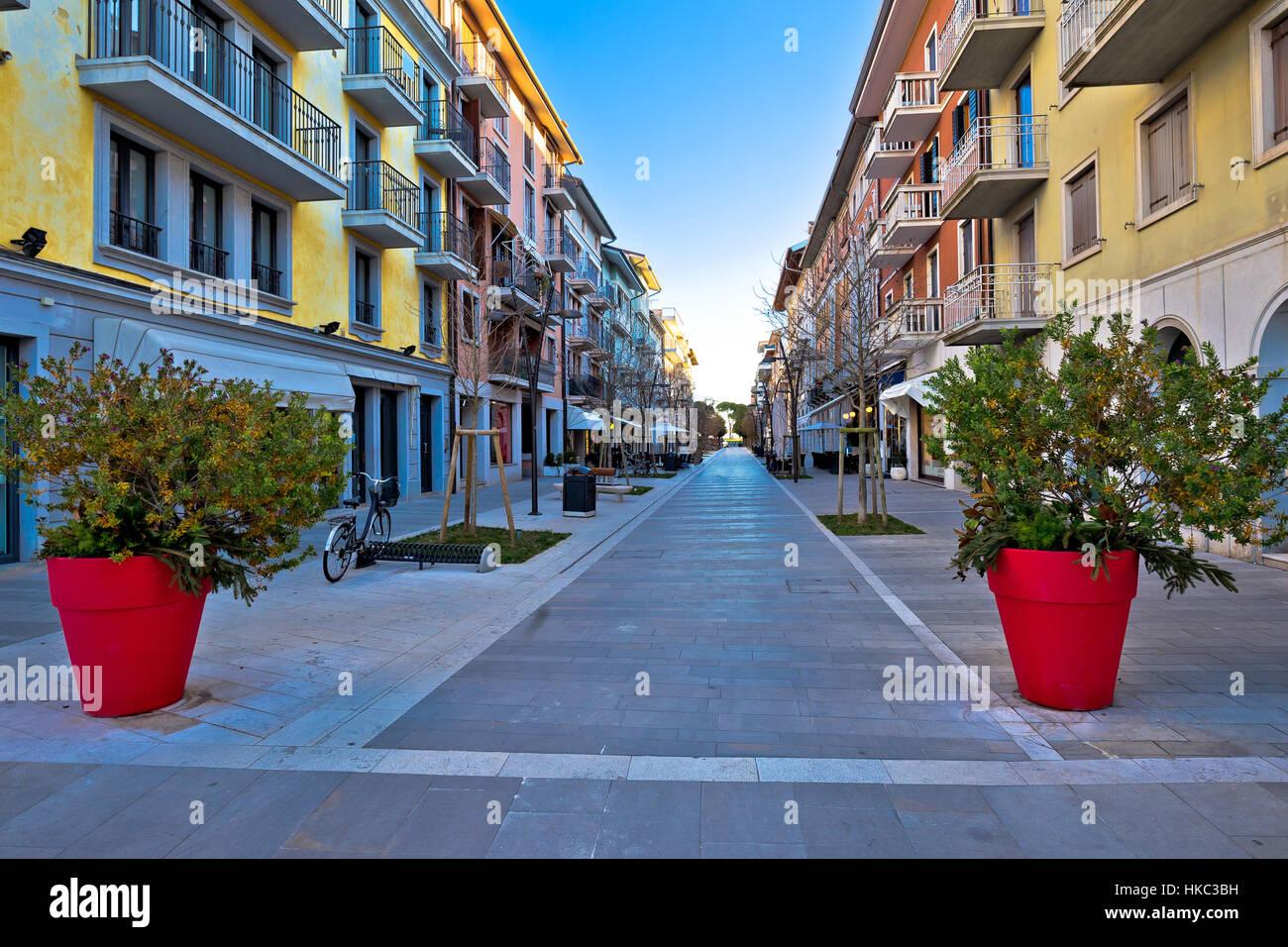 Town of grado tourist promenade street view, Friuli Venezia Giulia region of Italy - Stock Image