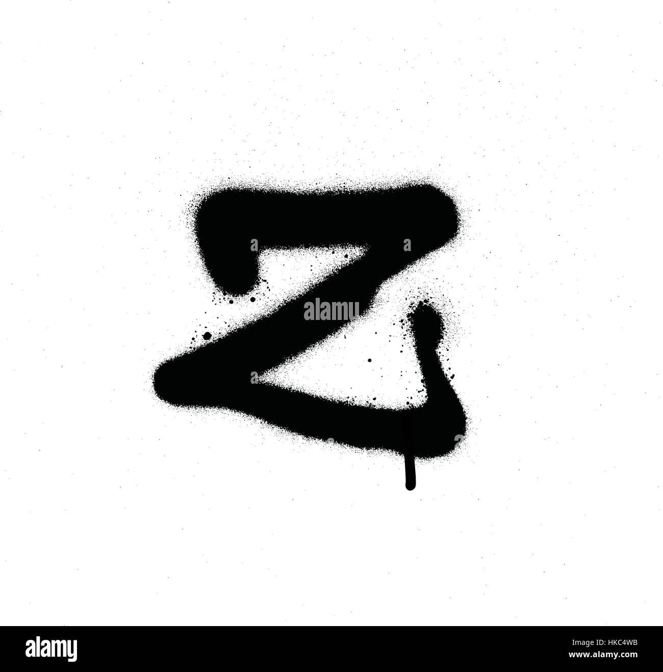 Sprayed z font graffiti with leak in black over white