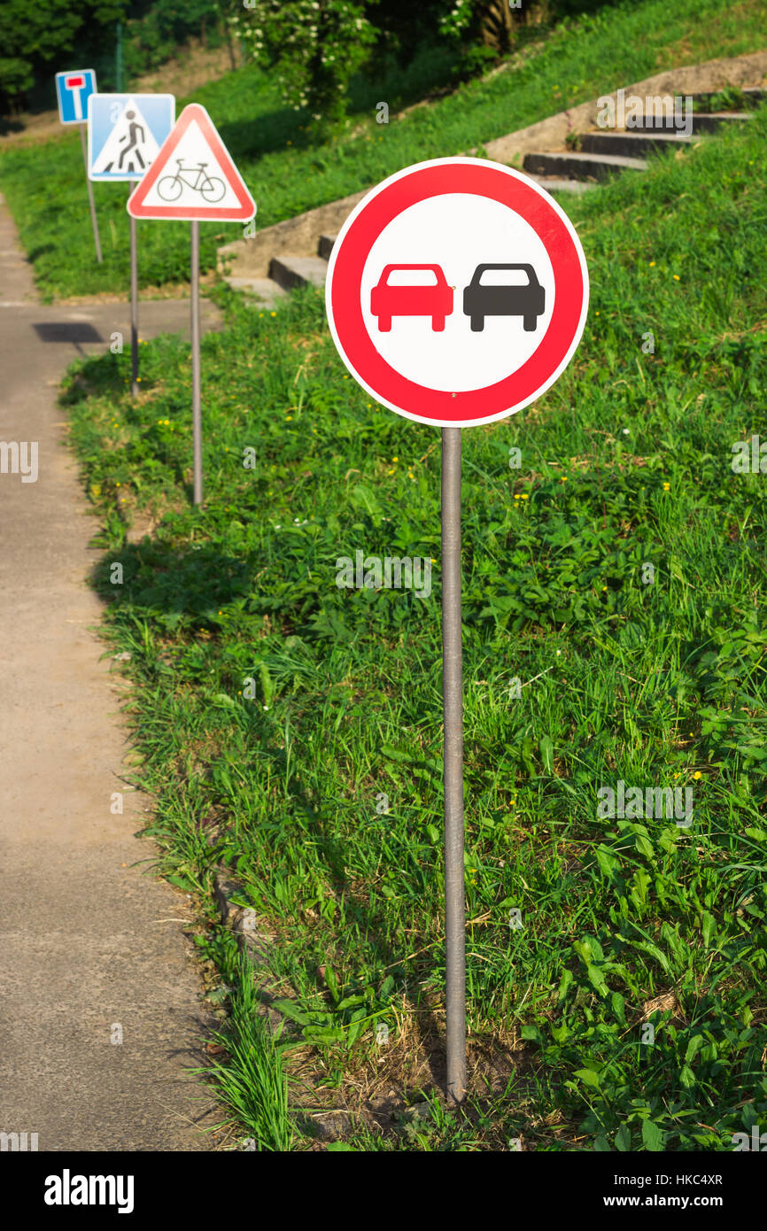 no overtaking, no passing sign on the training kids track in the park - Stock Image