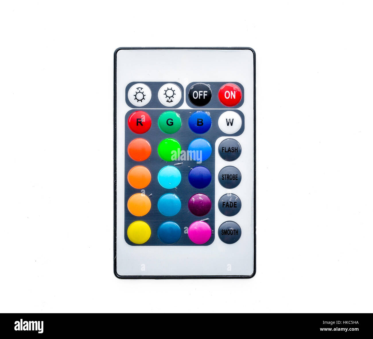 Infrared remote control keyboard for home LED lighting. Isolated on ...