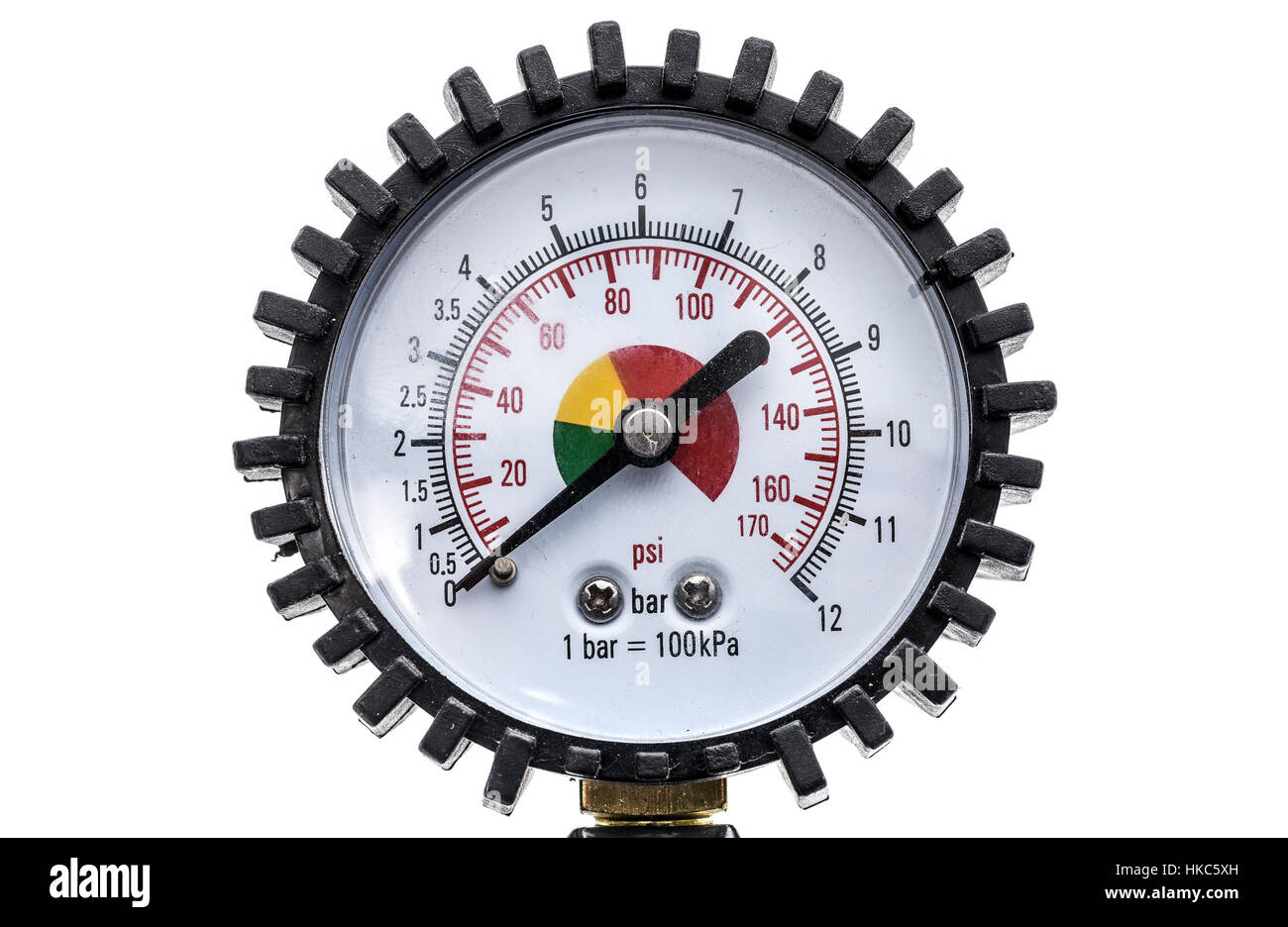 Industrial manometer pressure gauge isolated on a white background. Air compressor gun manometer with black needle Stock Photo