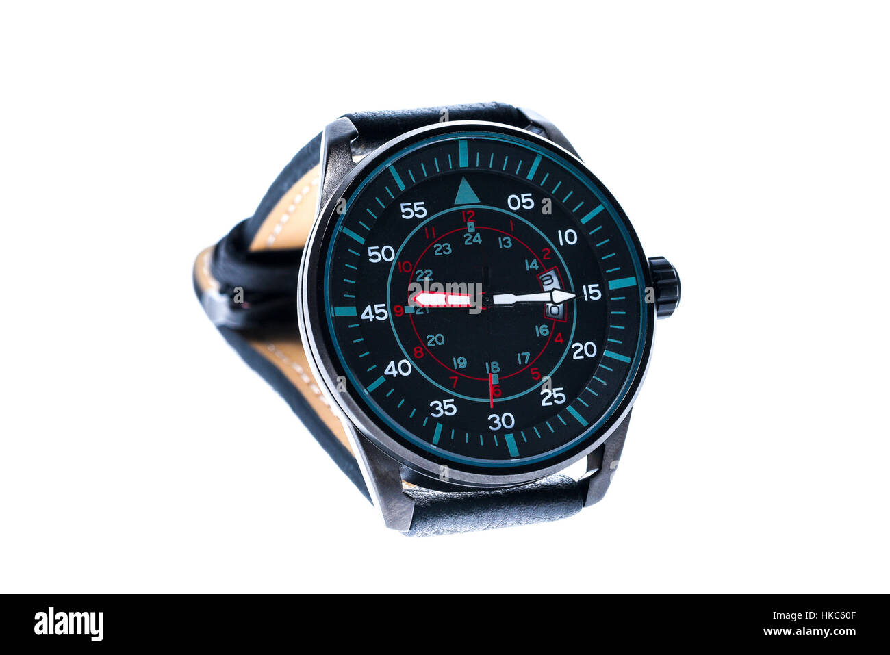 Mens luxury round swiss mechanical wrist watch with leather wristband strap. Chronograph or tachometer isolated - Stock Image